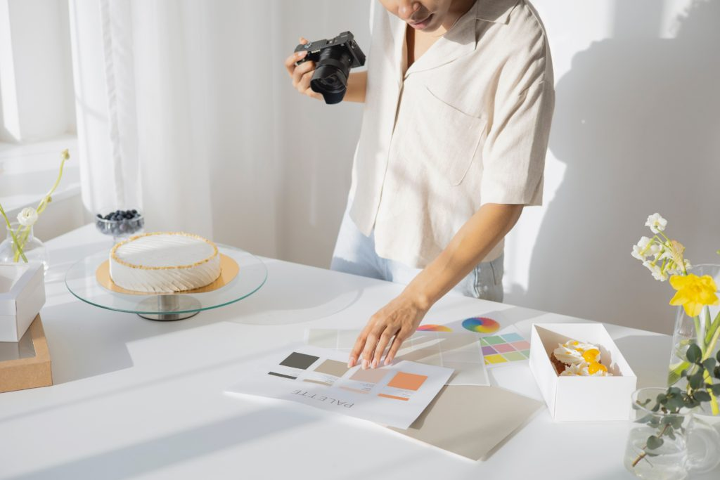 woman taking pictures for her blog